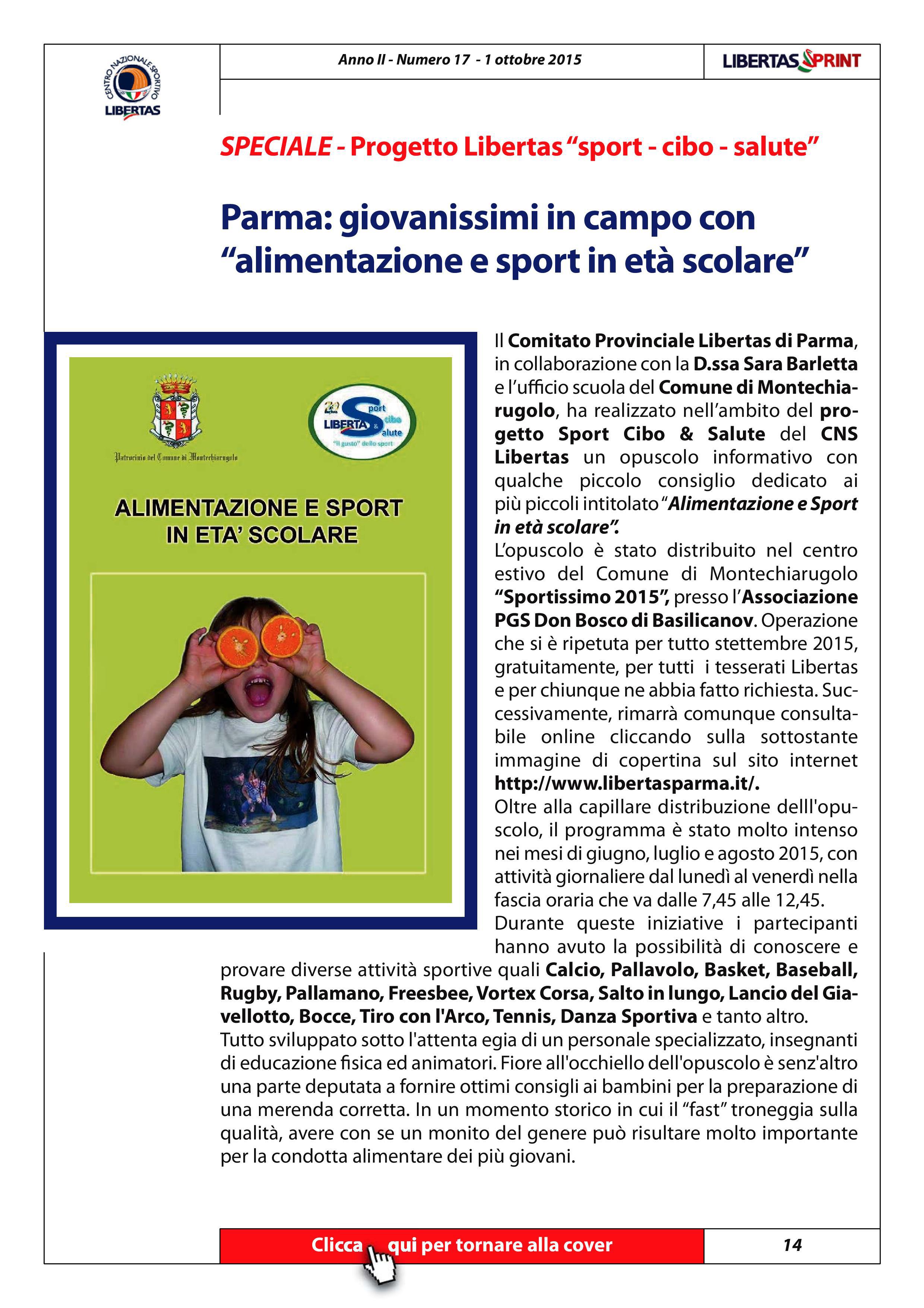 Progetto Sport Cibo & Salute Libertas