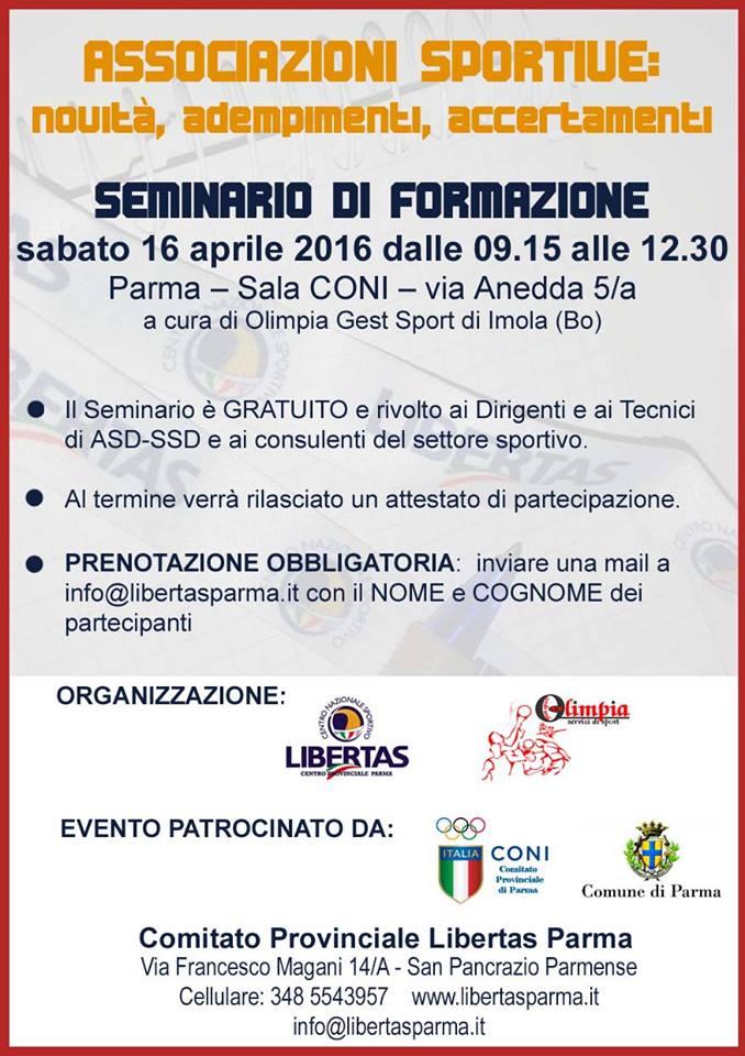Seminario Formativo Libertas - Parma 16 aprile 2016 Sala CONI - Associazioni Sportive: novità, adempimenti e  accertamenti